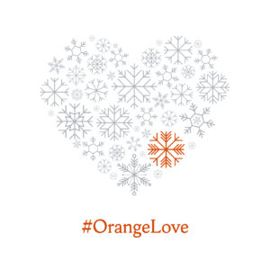 Facebook cover Image of a heart made of snowflakes